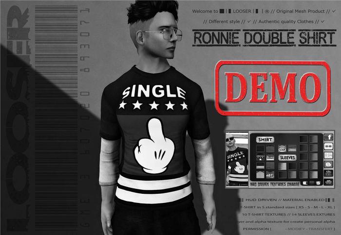 *2015 EDT.* █║▌LOOSER ║▌║® // [ DEMO ] Ronnie Double Shirt // MATERIAL ENABLED