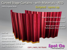 Spot On Curved Stage Curtains - RED w/Gold Trim