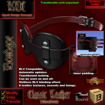 KDC Classic leather blindfold
