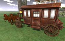 """32 prim """"Diligence w Animated Horses"""" scripted vehicle (copy)"""