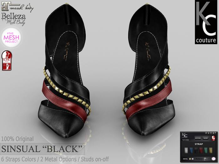 ".:KC:. SINSUAL Heels - ""BLACK"" - 6 Strap Colors / 2 Metal Options / 100% Original"
