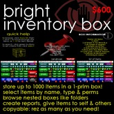 Bright Inventory Box - The perfect way to organise, store, back up, search, use & distribute inventory!