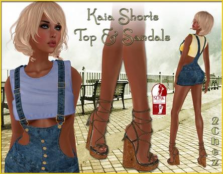 (2Chez) Kaia Denim Overall Shorts, Top (w HUD) & SLink HIGH Sandals