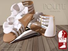 Poute- Lola Flat Sandals- White