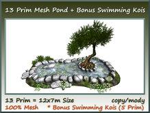 13 Prim Mesh Pond +Bonus Swimming Kois(5 Prim) 12x7m Size co/mo