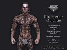AGORA TATTOO EXCLUSIVELY FOR NIRAMYTH AESTHETIC BODY MESH - Tribal strength of the tiger - Full Body
