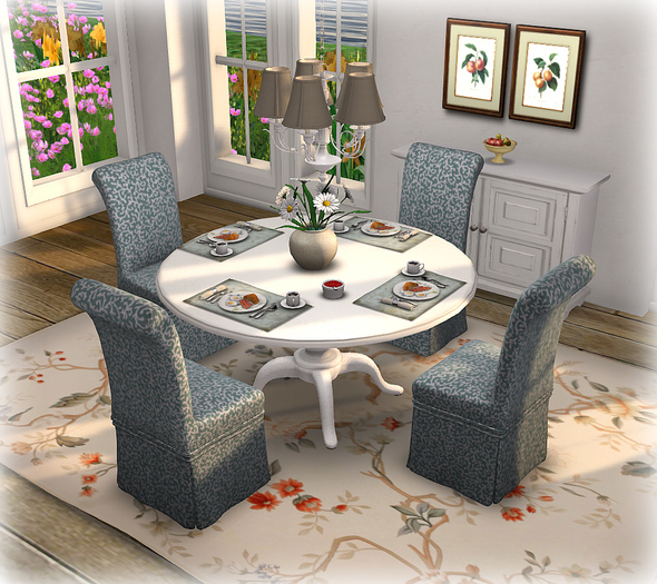 Dinner Party Dining Set for 4: White English and Slipper Chair Mesh 26 Prims!