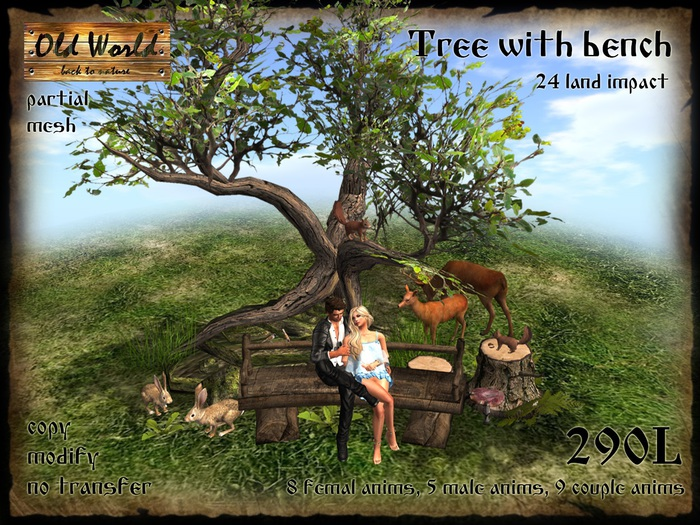 Bench with tree and animals - Old World - Rustic Furniture