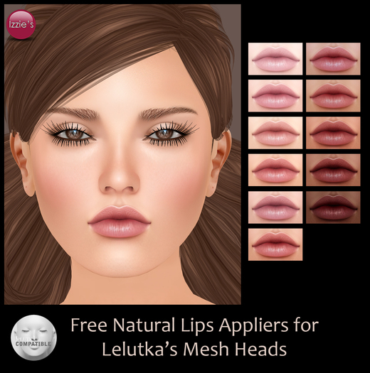 Izzie's - Free Natural Lips Appliers for Lelutka's Mesh Heads