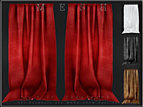 T-3D Creations [ Curtain Display 008 ]  Regular MESH - Full Perm -
