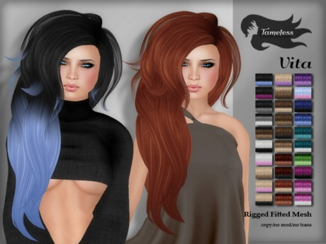*NEW RELEASE* Tameless Hair Vita (Rigged Fitted MESH) - Fades