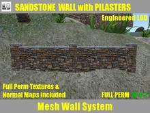 FULL PERM Ranch Sandstone Wall & Pilasters, Granite Cap Builder's Set
