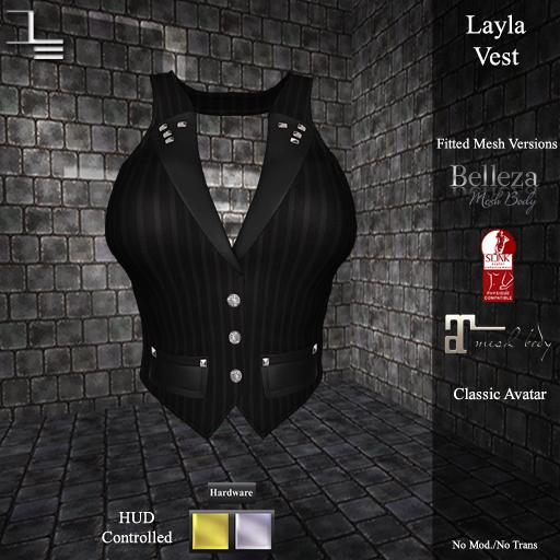 DE Designs - Layla Vest - Black Pinstripe