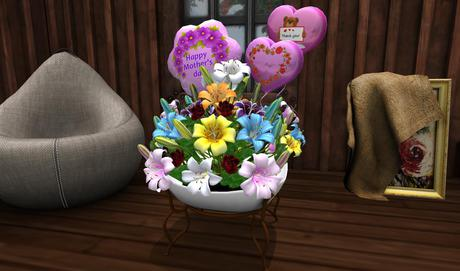 CJ Happy Mother Day - Old Bowl full colorful Lily + Roses - mody + transfer