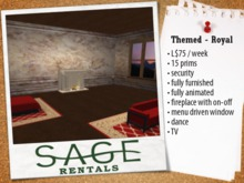Sage Rental - Skybox  - Themed- Royal , L$75/week, 15 prims