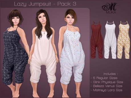 *MUKA* Lazy Jumpsuit - Pack 3 *MUKA* Lazy Jumpsuit - Pack 2 (Maitreya/Belleza/Slink)