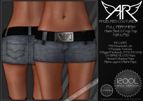 AngelRED - FULL PERM MESH Haim Jean Skirt & Belt [BASIC VERSION]