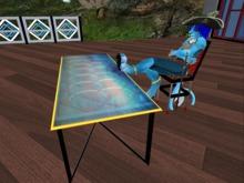 Designer mesh bevel glass table(2p)