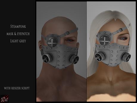 ! [NW] Steampunk mask & eyepatch light grey