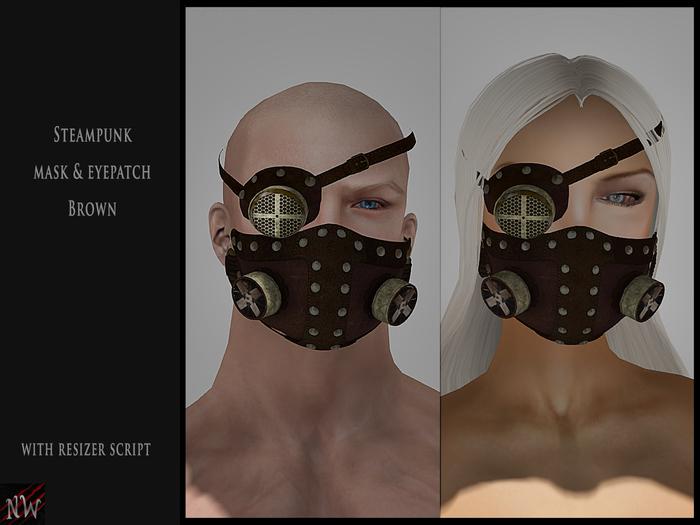 ! [NW] Steampunk mask & eyepatch brown
