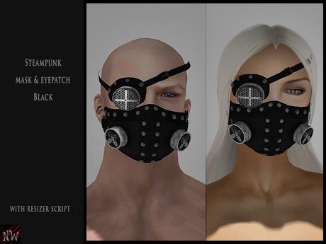 ! [NW] Steampunk mask & eyepatch black