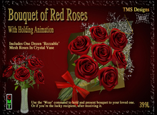 Red Roses Bouquet And One Dozen Roses In Crystal Vase