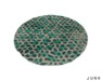 junk. round rug. green animal.