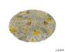junk. round rug. yellow flower.