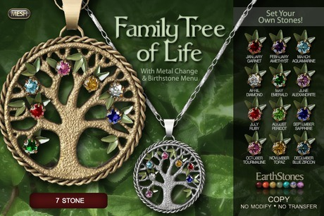 EarthStones Family Tree Of Life Necklace - 7 Stone