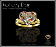 Mothers Day Jewelry - Mom Filigree Ring