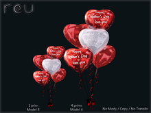 :-: Globos Heart H Mother's Red :-: