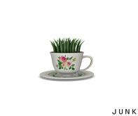 junk. vintage teacup planter.