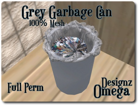 Grey Garbage Can (Mesh)- Full Perm