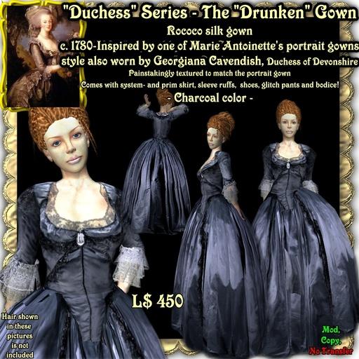"""Wunderlich's """"Drunken"""" - charcoal Rococo silk gown"""