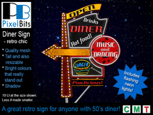 Diner - tall neon sign (blinking) *Boxed*
