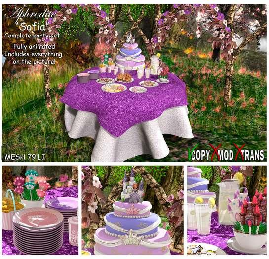 Aphrodite Sofia party complete set with Sofia the princess cake, tiara cookies, crown royal burgers & princess cake