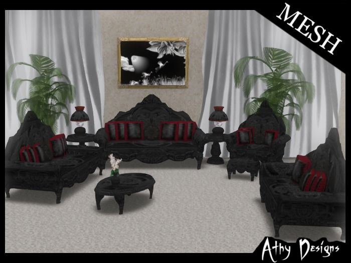 Second Life Marketplace Athy Designs Vintage Victorian Midnight Red Living Room Furniture Antique Baroque Gothic