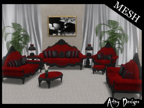 Second Life Marketplace Athy Designs Mesh Vintage Victorian Ruby Living Room Furniture Antique Victorian Baroque Gothic