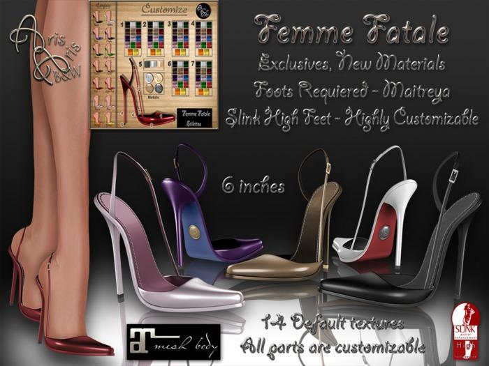 ***ArisAris ~B&W Femme Fatale Stilettos (Customizable hud) MAITREYA AND SLINK