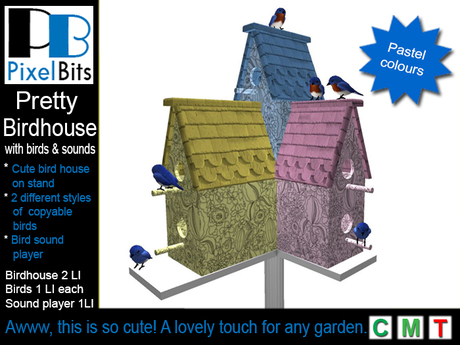 Pretty Bird House with Birds and Sound Player