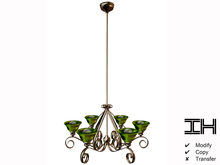 Chandelier baroque gold-green 3prims