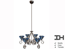 Chandelier baroque silver-blue 3prims 100% mesh