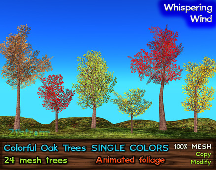 21strom Colorful Oaks SINGLE COLORS - 24 Mesh Trees with Animated Foliage
