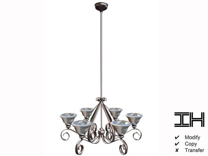 Chandelier baroque silver-white 3prims.100% mesh
