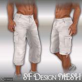 sf design mesh cargo cutoffs and shorts white