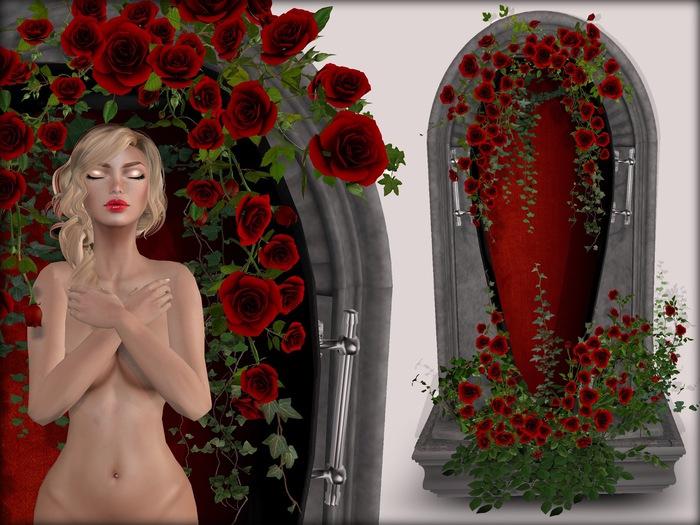 Boudoir-Wearable Sleeping Beauty Coffin Red Roses