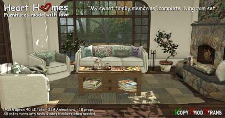 """<HEART HOMES> """"Sweet family memories"""" Family Living Room- Specially made for parents with kids!- Includes sofa bed"""