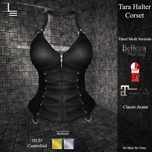 DE Designs - Tara Halter Corset - Black Leather