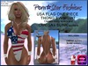 Porn*Star Fashions USA FLAG HORZ One Piece Thong Swimsuit with OMEGA & SLINK appliers