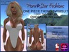 Porn*Star Fashions WHITE One Piece Thong Swimsuit with OMEGA & SLINK appliers